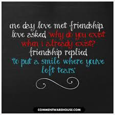 Love Friendship Quotes Inspiration One Day Love Met Friendship Quote Comments Images Pics Quotes
