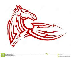 красная племенная татуировка лошади мустанга иллюстрация вектора