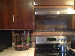 Pallet Wood Backsplash Finished Pallet Wood Backsplash Behind Stove Kitchen Kitchen