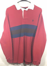 details about size medium vintage 90 s polo ralph lauren red striped color block rugby t shirt