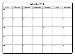 Calendar Of March 2019 Printable Monthly Template