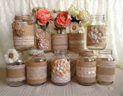 A mix of jars vases like these we are making for centerpieces. rustic burlap  and lace covered mason jar vases wedding decoration, bridal shower,  engagement, ...