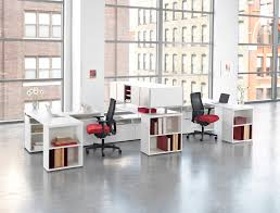 office pop. these hon office chairs add a nice pop of colour to modern white workstation