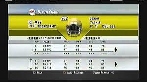 Notre Dame Depth Chart Ncaa Football 2004 Historic Team Depth Chart 1973 Notre Dame Fighting Irish