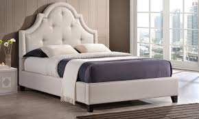 tufted platform bed. Martha Twill Fabric-Tufted Platform Bed With Arched Headboard Tufted T