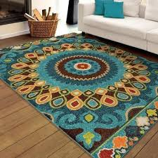 rectangle latex free area rug x contemporary fl pattern colors ivory blue red green yellow orange brown rugs