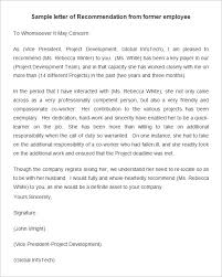 Writing A Recommendation Letter For An Employee Free Sample Recommendation Letter From Letter Of Recommendation