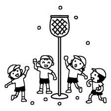 玉入れ1運動会体育祭大きな行事学校無料白黒イラスト素材