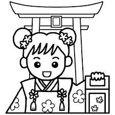 女の子三歳と鳥居白黒七五三の無料イラスト秋の季節行事素材