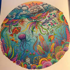 finished lost ocean coloring page using prismacolor