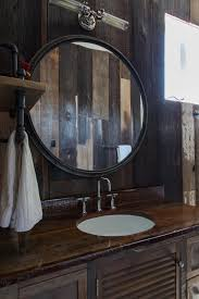 Bathroom Rustic Round Bathroom Mirror With Metal Frame On