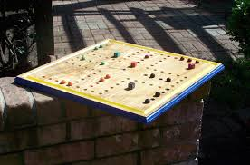 Wooden Aggravation Board Game Large Hand Made Aggravation board game w marbles and dice Wood 33