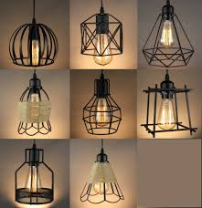 vintage industrial metal cage black cafe loft bar pendant light lamp shade