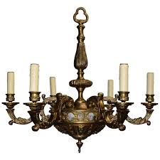 antique chandelier bronze with porcelain plaques for