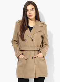 beige solid trenchcoat women s coats jackets