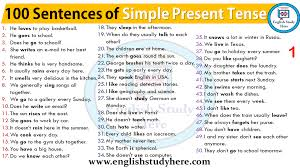 Tenses In English Grammar Chart With Examples Pdf Free Download English Simple Present Tense Examples 100 Sentences Of