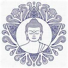 будда эскиз будда с эскизом лотоса векторное изображение