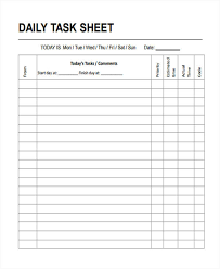 15 Task Sheet Samples Templates Pdf Doc