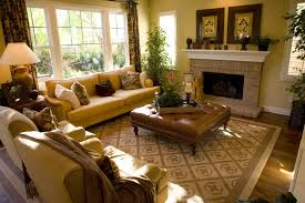 Living room with leather brown ottoman for a coffee table