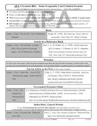 Apa Apas Greatest Hits Some Frequently Used Citation Formats