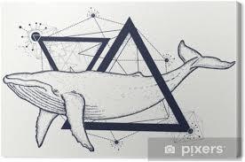 Obraz Kreativní Geometrické Velryba Tetování Umění Tričko Tisk Výtisk Plakát Textil Velrybí Tetování Geometrický Styl Mystický Symbol Dobrodružství