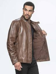 the rhinecliff jacket is crafted in lightweight calfskin leather