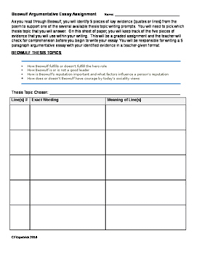 Beowulf Topics Evidence Essay Sheet With Graphic Organizer Argumentative Collect