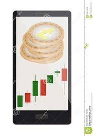 Litecoin Coins With Candlestick Chart On A Phone Screen