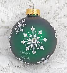 Dark Green Hand Painted Ornament With 3d Snowflake Texture Design