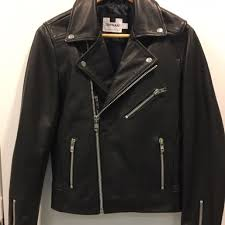 topman slim cut 黑色真皮褸black leather biker jacket men s fashion men s tops on carou