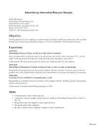 Sample Internship Resumes Business Knowing Advertising Resume