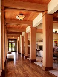 hallway lighting. Flush Mount Lights On Wooden Hallway Ceiling For Modern Home Design Lighting
