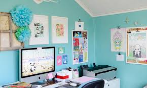 Creative tiffany blue paint walls for office