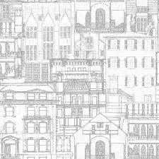 Beacon House Facade Light Grey Vintage Blueprint Wallpaper Sample