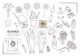 夏 サマー 海 浴衣 アイス 祭 白黒イラスト No 1479991無料イラスト