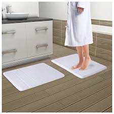 drhob 2pcs white 17 x 24 non slip c velvet bathmat absorbent bath rugs memory foam bath mats with anti skid bottom wantitall