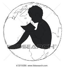learning silhouette boy reading book in the globe