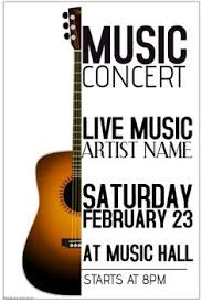 Free Music Poster Templates 16 Best Guitar Concert Poster Template Images In 2019