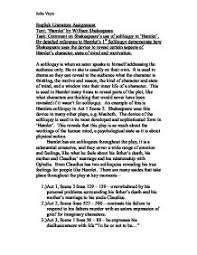 comment on shakespeare s use of soliloquy in hamlet by detailed page 1 zoom in