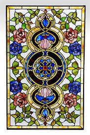 red blue roses victorian tiffany stained glass window panel all with panels idea 14