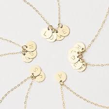 personalised gold filled initial disc necklace multiple discs