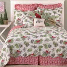 Winter Bird Cardinal Holiday Quilt Bedding & Winter Bird Quilt White Adamdwight.com