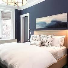 Perfect Navy Bedroom Walls With Beige Nailhead Headboard