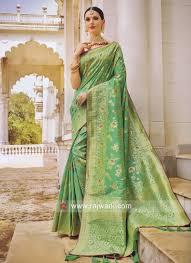 Green Saree With Pink Blouse Design Pista Green Saree With Deep Pink Blouse