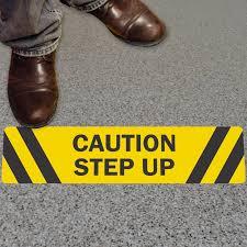 adhesive vinyl floor signs caution step up sku sf 0078 mysafetysign com