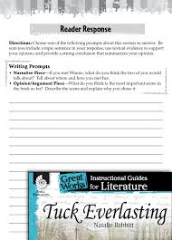 tuck everlasting reader response writing prompts teachers  tuck everlasting reader response writing prompts teachers classroom resources