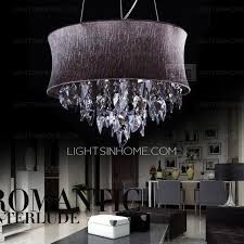 simple 5 light hardware drum shaped purple crystal chandelier