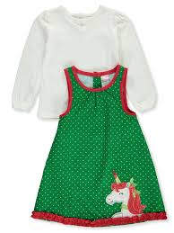 Nannette Baby Clothing Size Chart Holiday Unicorn 2 Piece Jumper Dress Set By Nannette In Green