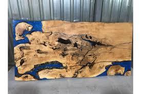 Esche Baumscheibe Tischplatte Blauen Epoxidharz