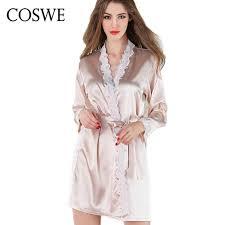 plus size silk robe coswe brand robe bathrobe satin lace silk robes for womens sleepwear